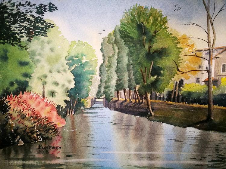 Fluss, Spiegelung, Ruhr, Essen, Aquarell