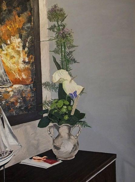 Acrylmalerei, Blumen, Romantik, Stillleben, Vergangenheit, Malerei