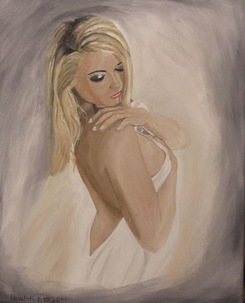 Realismus, Frau, Ölmalerei, Traum, Hand, Malerei