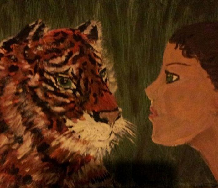 Frau, Begegnug, Tiger, Malerei, Begegnung