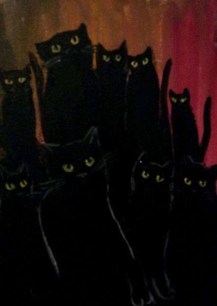 Katze, Augen, Nacht, Malerei