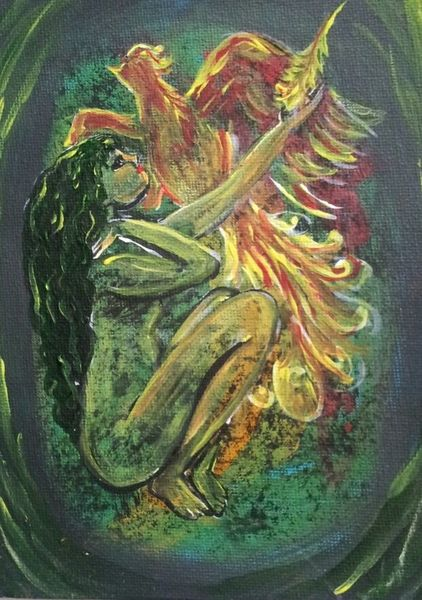 Phoenix, Feder, Frau, Malerei, Erleuchtung