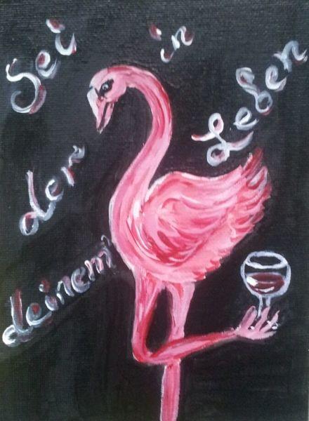 Rosa, Wein, Flamingo, Malerei, Leben