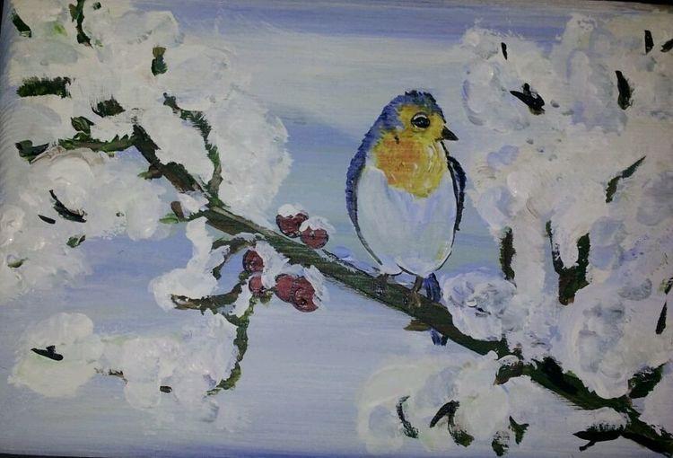 Winter, Schnee, Vogel, Malerei