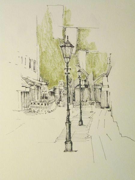 Tuschestift, Urban sketch, Innenstadt, Zeichnungen, Altstadt