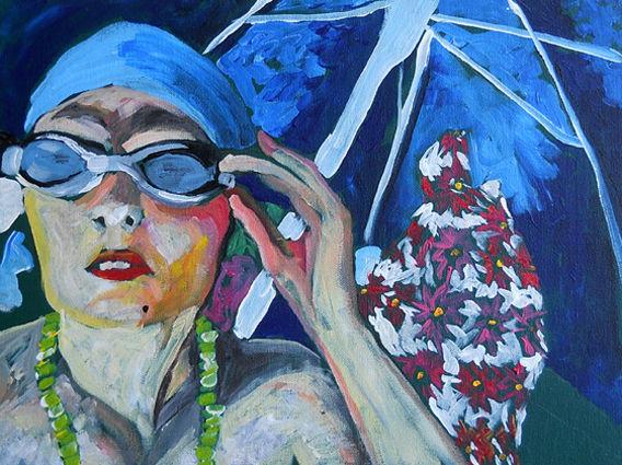 Malerei, Strand, Portrait, Acrylmalerei, Sonnenbrille,