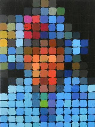 Malerei, Acrylmalerei, Queen, Punkt, Portrait, Blau