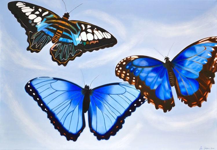 Schmetterling, Blautöne, Ölmalerei, Malerei,