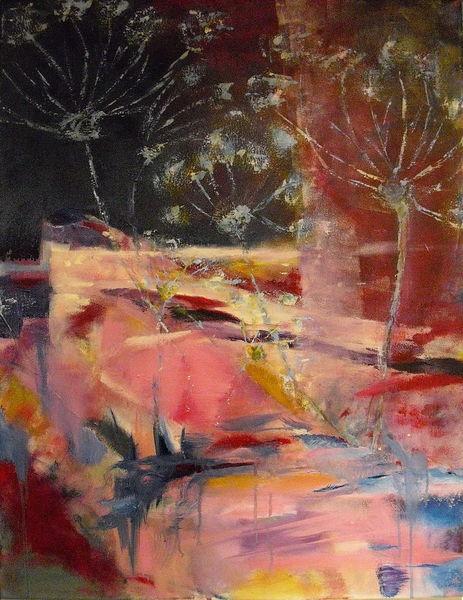 Garten, Ufer, Abstrakt, Pflanzen, Malerei