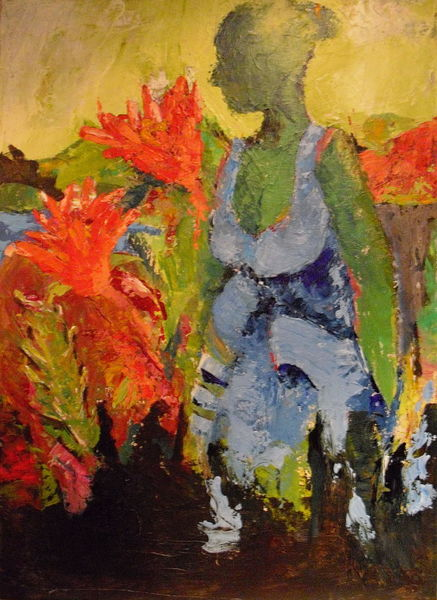 Menschen, Garten, Blumen, Malerei