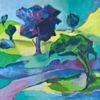 Blau, Gelb, Landschaft, Malerei