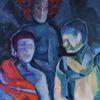 Nacht, Blau, Feuer, Malerei