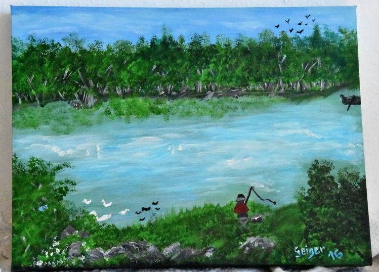 Natur, Landschaft, Acrylmalerei, Blau, Rhein, Grün