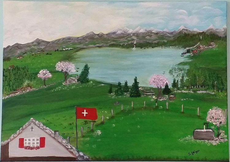 Acrylmalerei, Natur, Berge, Landschaft, See, Malerei