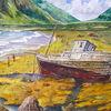 Boot, Menschen, Landschaft, Berge
