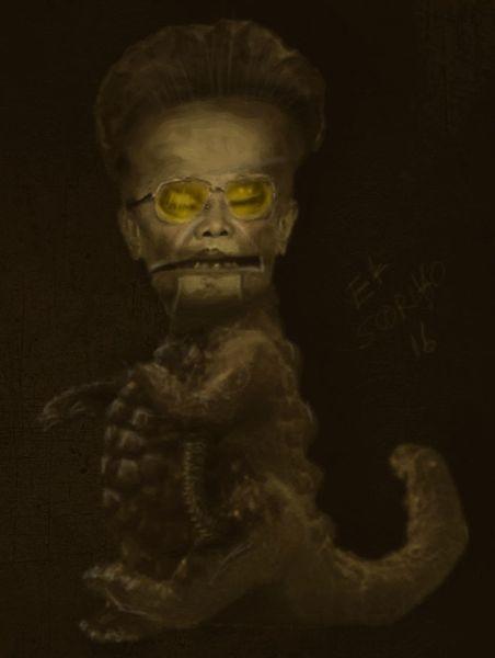 Alien, Diktator, Eidechse, Figural, Kim jong il, Reptiloid