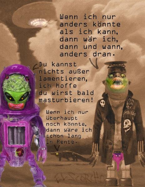 Alien, Wuff, Universum, Sepia, Damenkloherrensauna, Mischtechnik