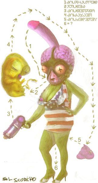 Puzzle, Alien, Locken, Mischtechnik, Kotze, Planet