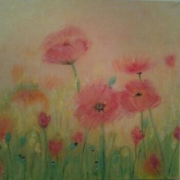 Blumen, Malerei, Mohn