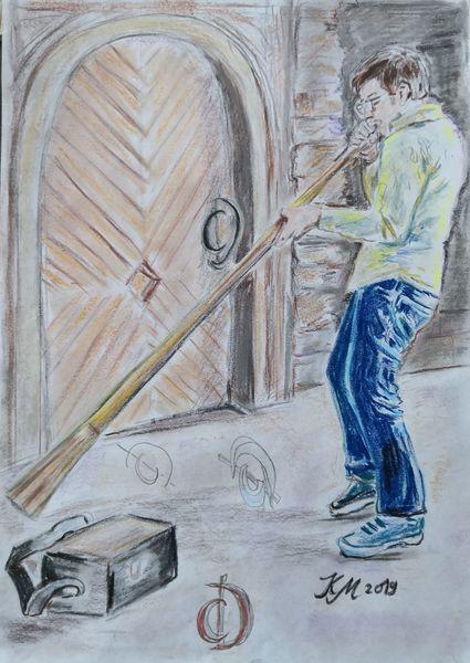 Didgeridoo, Musiker, Kellertuer, Zeichnungen, Mann