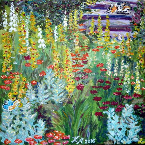 Treppe, Katze, Sommer, Schmetterling, Blumengarten, Malerei