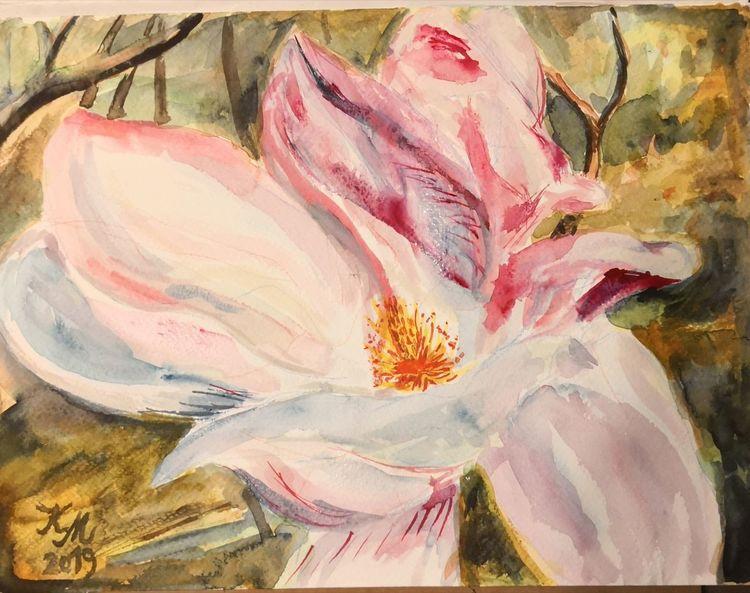 Frühling, Magnolien, Rosa, Aquarell,