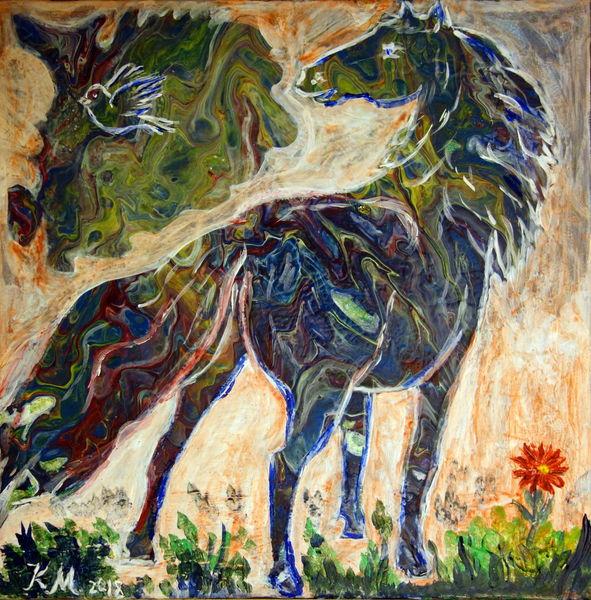 Pferde, Vogel, Rote blume, Acrylgießen, Malerei