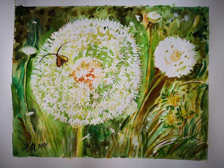 Pusteblumen, Insekten, Grün, Aquarell