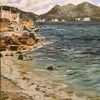 Strand, Wolken, Welle, Malerei