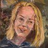 Mädchen, Gouachemalerei, Blond, Malerei