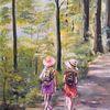 Waldweg, Kinder, Sommernachmittag, Malerei
