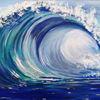 Schaumkrone, Wasser, Blau, Malerei