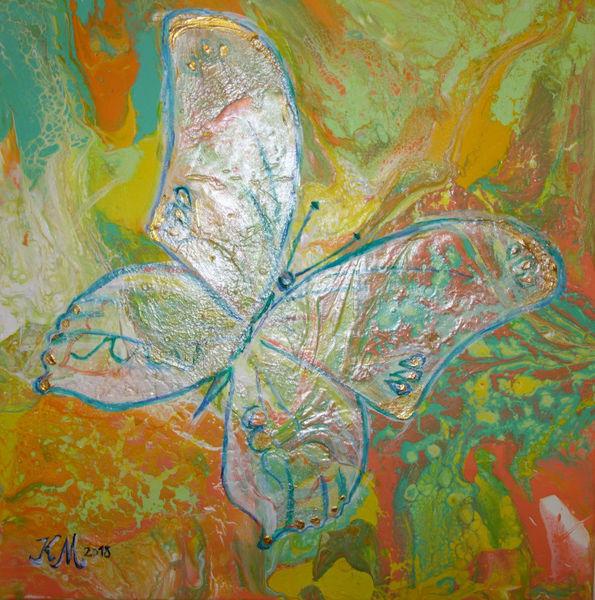 Acrylmalerei, Pouring, Schmetterling, Frühlingsfarben, Malerei