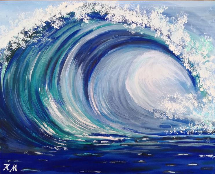 Schaumkrone, Wasser, Blau, Malerei, Welle