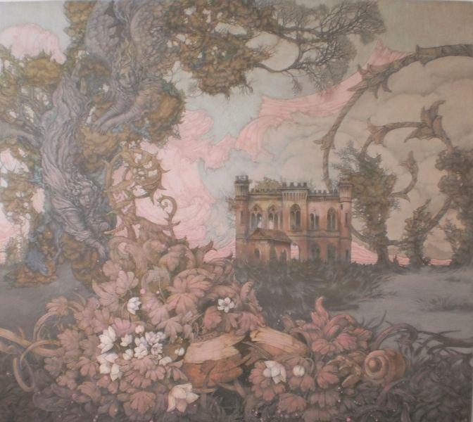 Garten, Mandoline, Schloss, Blumen, Dryade, Symbol
