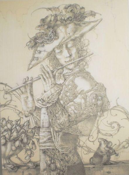 Mann, Blumen, Barock, Schneeglöckchen, Maus, Zeichnung