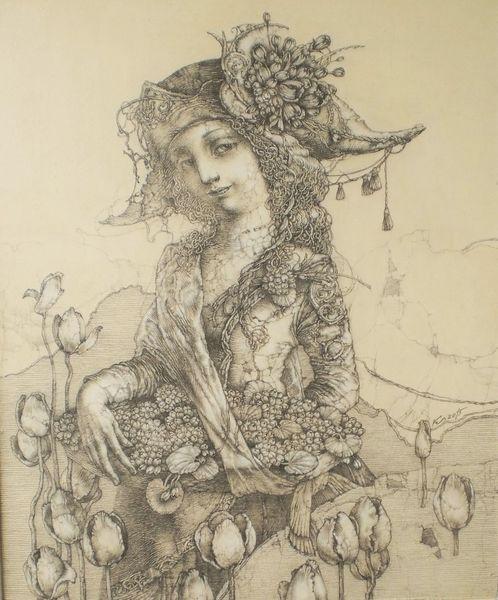 Zeichnung auf hartfaser, Detailliert, Blumenkörbchen, Zeichnungen,