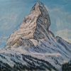 Berge, Baum, Himmel, Malerei