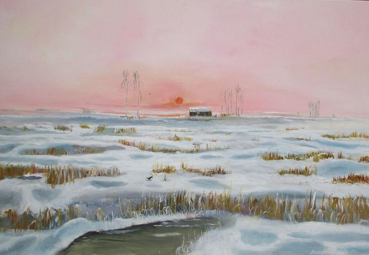 Schnee, Blockhaus, Birken, Winterlandschaft, Sonnenuntergang, Malerei