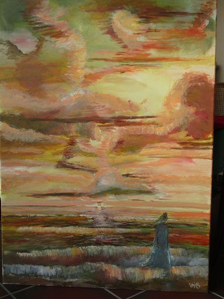 Meer, Frau, Sonne, Wolken, Malerei, Ozean