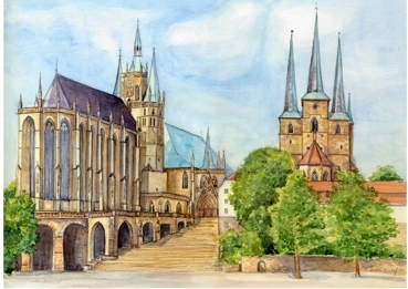 image erfurt dom und severi aquarellmalerei aquarell von kerstin59 on kunstnet. Black Bedroom Furniture Sets. Home Design Ideas