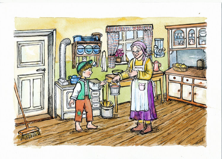 Großmutter, Junge, Eimer, Küche, Illustrationen
