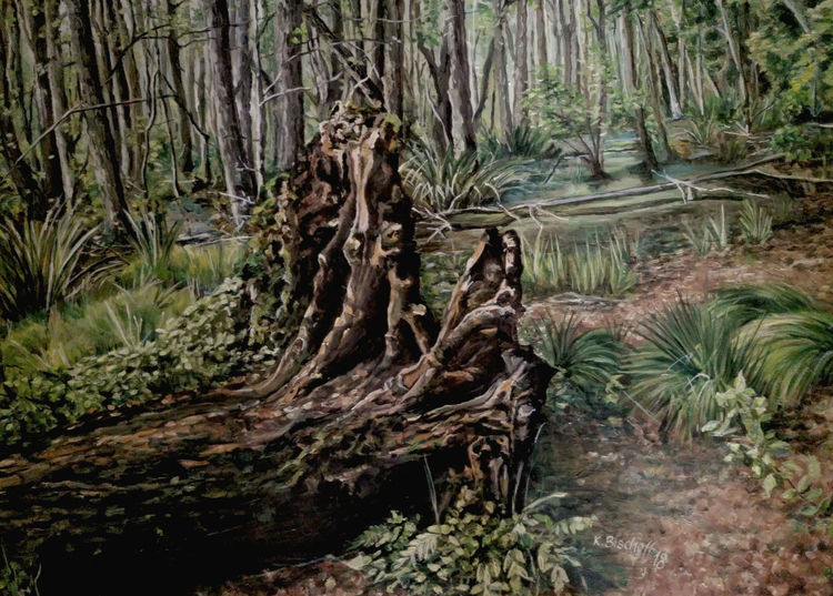 Usedom, Gras, Wurzel, Wald, Moor, Malerei