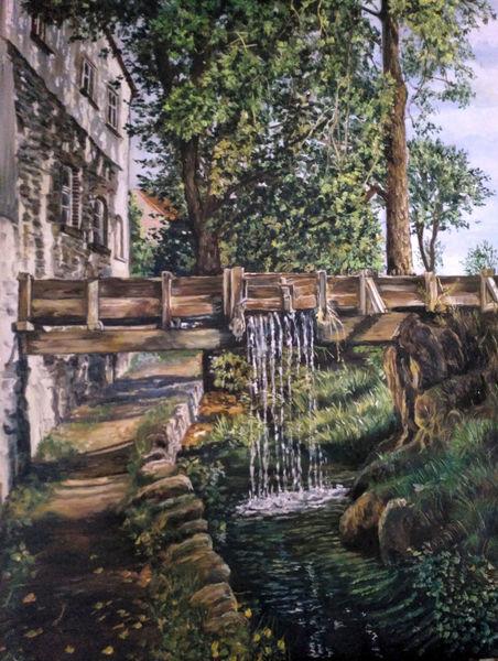 Baum, Bach, Felsen, Steg, Wasserfall, Malerei