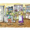 Eimer, Küche, Großmutter, Junge