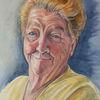 Lächeln, Portrait, Gelb, Oma