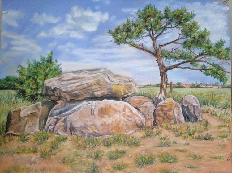 Steingrab, Pastellmalerei, Stein, Rerik, Ostsee, Sand
