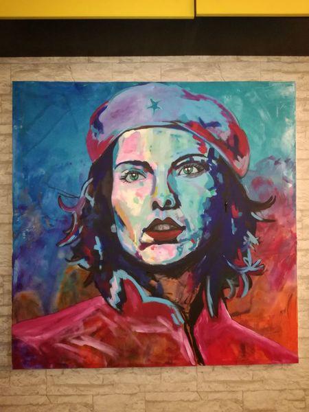 Bunt, Portrait, Che, Frau, Malerei