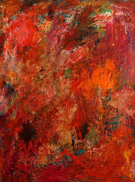 Gespachelt, Abstrakt, Rot, Malerei
