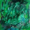 Auf steinpapier, Spachtelei, Grün, Malerei